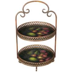 2-Tier Gold and Fruit Metal Cake Stand