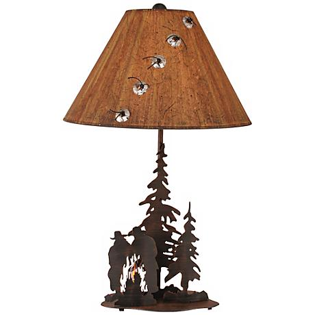 Burnt Sienna Iron Cowboys and Campfire Table Lamp