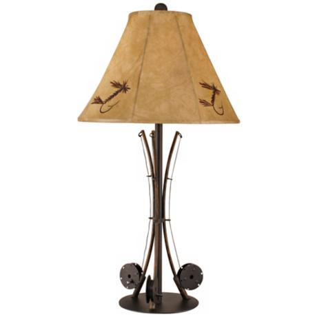 Iron 3 Fishing Poles Table Lamp