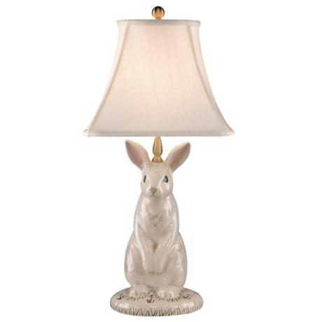 Wildwood Hand-Painted Porcelain Dignified Rabbit Table Lamp