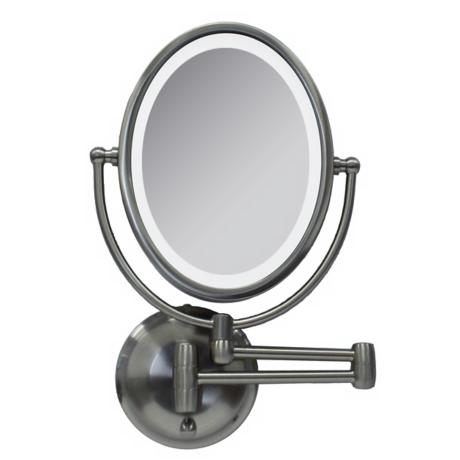 "Satin Nickel LED 14 3/4"" High Oval Wall Mount Mirror"