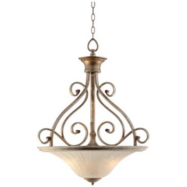 Possini Riviera Scrolls 3-Light Bowl Pendant Light