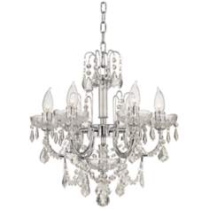 "Six Light Clear Crystal 17"" Wide Chandelier"