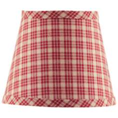 Set of 6 Burgundy Tan Plaid Lamp Shades 4x6x5.25 (Clip-On)