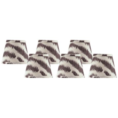 Set of 6 Black and Tan Zebra Shades 4x6x5.25 (Clip-On)