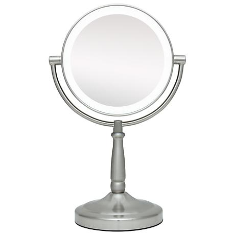 "Cordless LED Lighted Pivoting 7"" Wide Vanity Mirror"