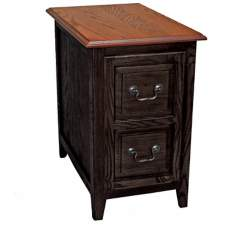 Leick Shaker Style Slate and Oak Finish Cabinet End Table