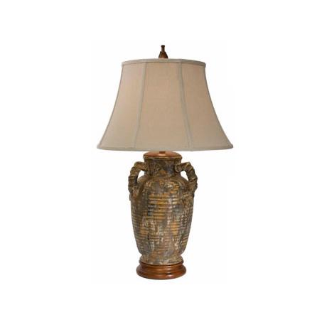 Natural Light Marbella Ceramic and Wood Table Lamp