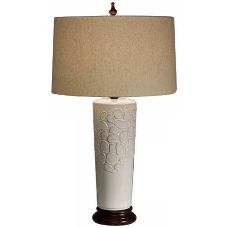 Natural Light Ambrosia Ceramic and Wood Table Lamp