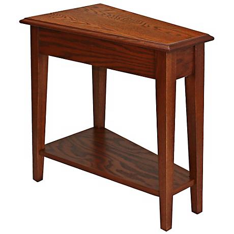 Leick Furniture Oak Finish Wedge Accent Table