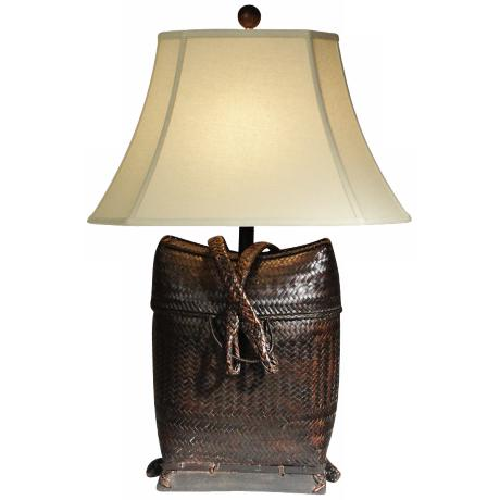 Natural Light Backpack Woven Table Lamp