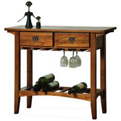 Leick Furniture Russet Finish Mission Wine Rack Table