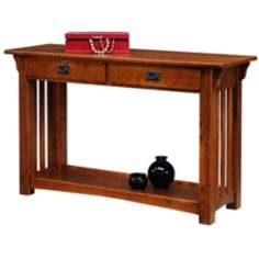 Medium Oak Mission Style Sofa Table