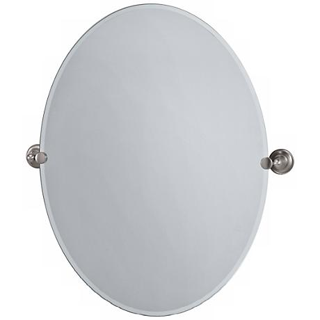 "Gatco Tiara Satin Nickel 32"" High Frameless Oval Wall Mirror"