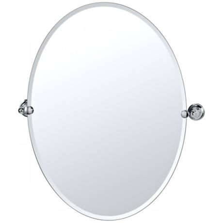 "Gatco Tiara Chrome 26 1/2"" High Frameless Oval Wall Mirror"