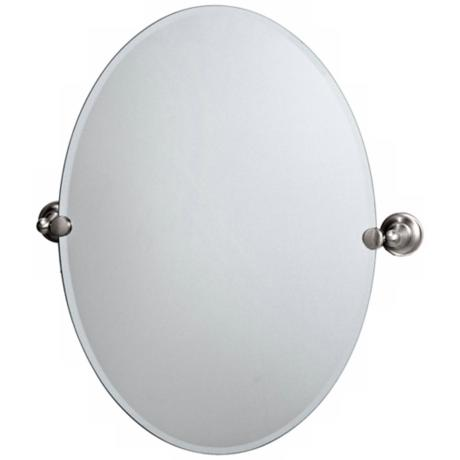 "Gatco Tiara Satin Nickel 26"" 1/2 High Frameless Oval Mirror"
