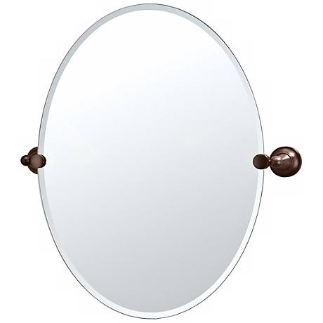 "Gatco Tiara Oiled Bronze 26"" 1/2 High Frameless Oval Mirror"