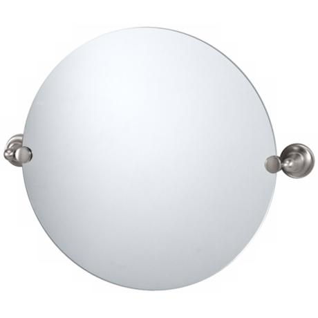 "Gatco Satin Nickel Tiara 24"" Wide Round Mirror"
