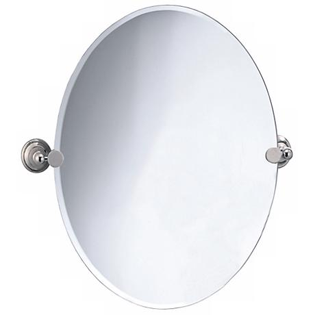 "Gatco Laurel Avenue Nickel  26 1/2"" High Oval Wall Mirror"