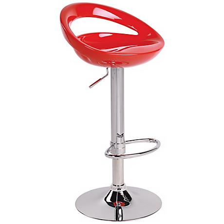 Swizzle Red Adjustable Bar or Counter Stool
