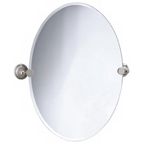 "Gatco Laurel Avenue Nickel 32"" High Oval Wall Mirror"