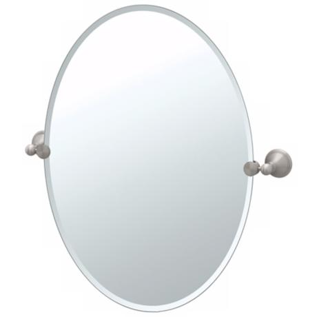 "Gatco Laurel Avenue Satin Nickel 32"" High Oval Wall Mirror"