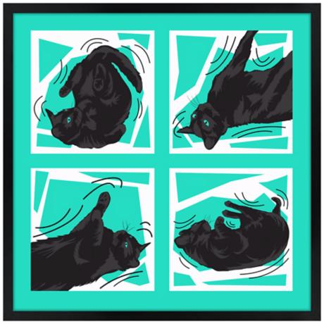 Kinetic Cat Teal Wall Art