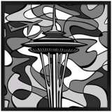 "Space Age Night 26"" Square Black Giclee Wall Art"