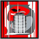 "Hollywood Records Red 31"" Square Black Giclee Wall Art"