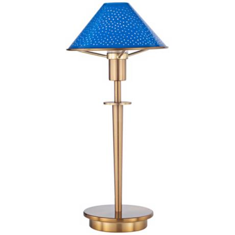 Pearl Blue Glass Antique Brass Mini Holtkoetter Desk Lamp