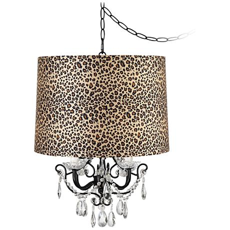 "Crystal Glitter Black 12"" Wide Plug-In Style Swag Chandelier"