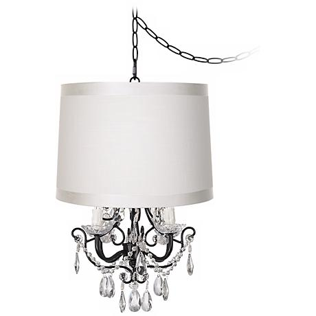 Crystal Glitter Off-White Designer Shade Swag Chandelier