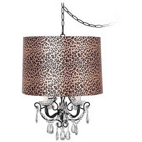 Crystal Glitter Designer Leopard Shaded Chandelier