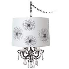 Crystal Glitter Designer Flower Shade Swag Chandelier