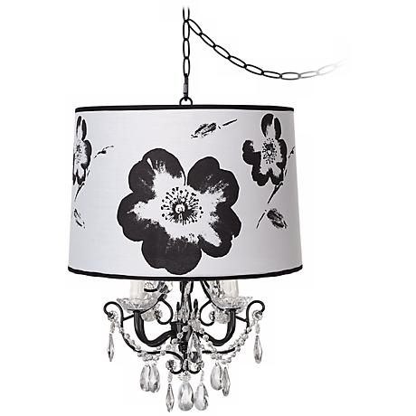 Crystal Glitter Flower Designer Shade Swag Chandelier