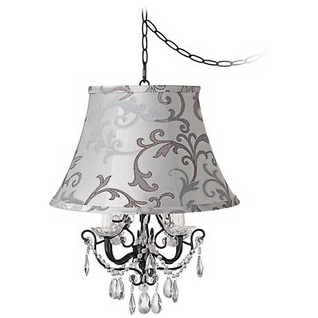 Crystal Glitter Designer Scroll Shade Swag Chandelier
