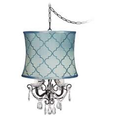 Crystal Glitter Blue Tile Designer Shade Swag Chandelier