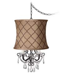 Crystal Glitter Brown Tile Designer Shade Swag Chandelier