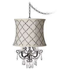 Crystal Glitter Cream Tile Designer Shade Swag Chandelier