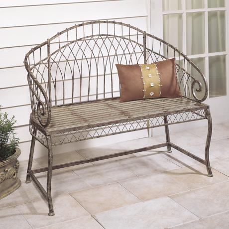 Rose Green Arch Back Iron Outdoor Garden Bench