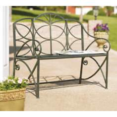 Black Moss Iron Outdoor Garden Bench