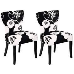 Set of 2 Black and White Floral Pattern Side Chair