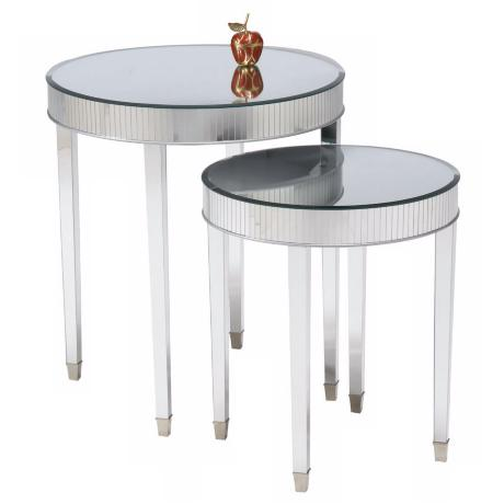 Set of 2 Mirror Top Cinema Round End Tables