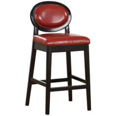 "Martini Series Red 30"" High Stationary Bar Stool"