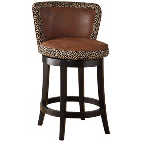 "Lisbon Leopard 30"" High Swivel Bar Stool"