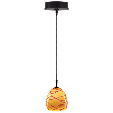 Alico Fila Amber and Red Glass Bronze Mini Pendant
