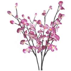 Set of 3 Lighted Silk Orchid Flower Branches