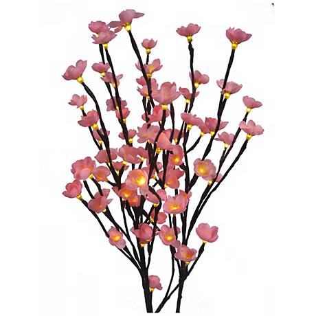 Set of 3 Lighted Cherry Blossom Fiber Optic Flowers