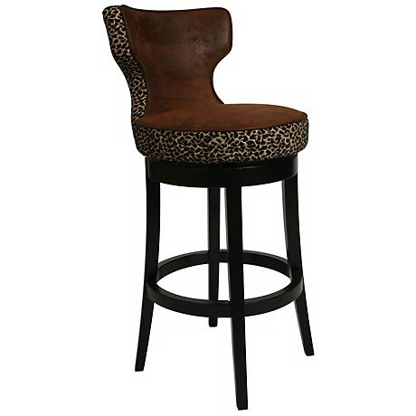 "Impacterra Augusta Leopard Swivel 26"" High Counter Stool"