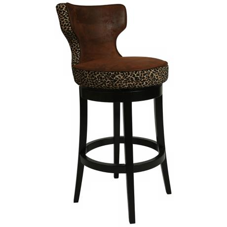 "Pastel Augusta Leopard Swivel 26"" High Counter Stool"